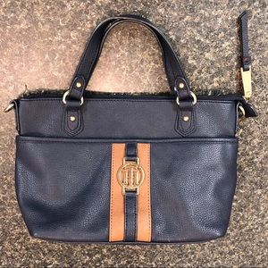 Tommy Hilfiger navy blue and tan purse